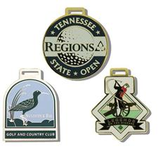 Logo Golf Brass Etched Bag Tags - 2 1/2 Inch - Matte Nickel