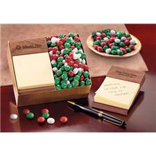 Post-it Note Holder - Walnut Wood/Chocolate Gourmet Mints