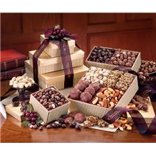 Gourmet Sampler Tower - Burgundy and Gold Package