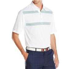 Greg Norman Men's Double Chest Stripe Polo