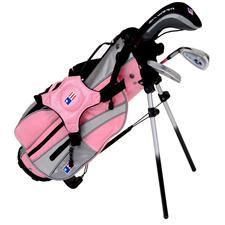 U.S. Kids Girls Ultralight Series Pink 3-Club Stand Bag Set