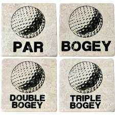 Classic Marble Tile Coaster Set - Bogey Collection
