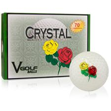 V Golf Crystal Golf Balls - Red and Yellow Rose Logo