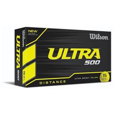 Wilson Custom Logo Ultra 500 Distance Yellow Golf Balls - 15 Pack