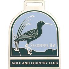 Logo Golf Brass Etched Bag Tags - 2 Inch - Antique Brass