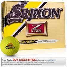 Srixon Custom Logo Z Star 4 Tour Yellow Golf Balls - 2015 Model