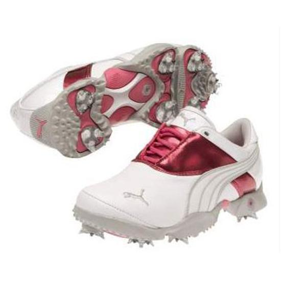 Puma Jigg Golf Shoes for Women - White/Shocking Pink/Gray Violet - 10