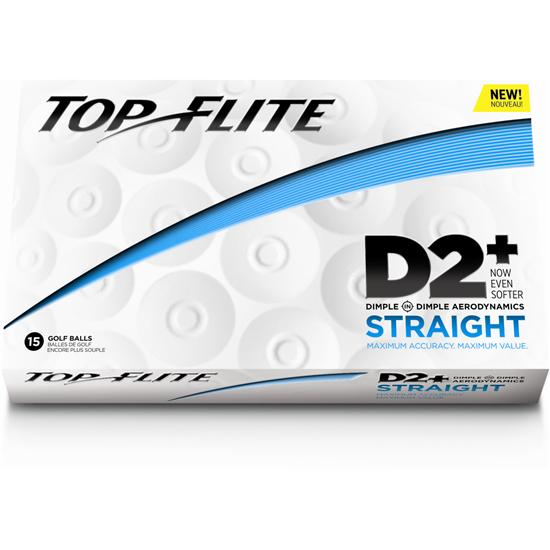 Top-Flite D2+ Straight Golf Balls - 15 Ball Pack