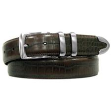 PING Croco Embossed Leather Feather Edge Belt