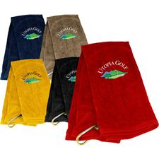 Tri-Fold Stock Utopia Golf Logo Golf Towel