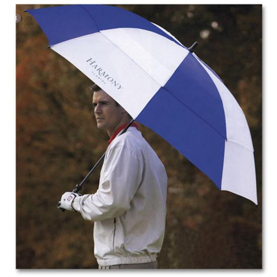 Logo Golf Double Canopy Golf Umbrella- 68 Inch Arc Size