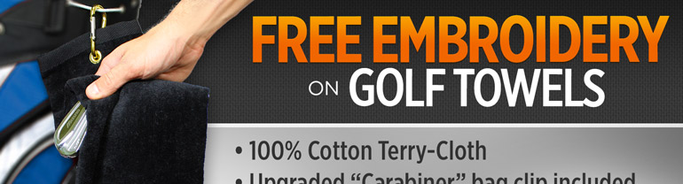 Free Personalization on Golf Towels from $7.95 - Choose from 14 Colors, One Week Only