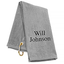 Tri-Fold Personalized Golf Towel - Silver