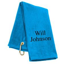 Tri-Fold Personalized Golf Towel - Coastal Blue