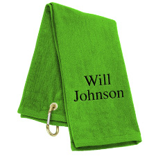 Tri-Fold Personalized Golf Towel - Lime Green