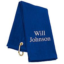 Tri-Fold Personalized Golf Towel - Royal Blue