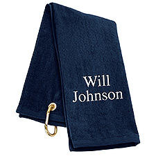 Tri-Fold Personalized Golf Towel - Navy